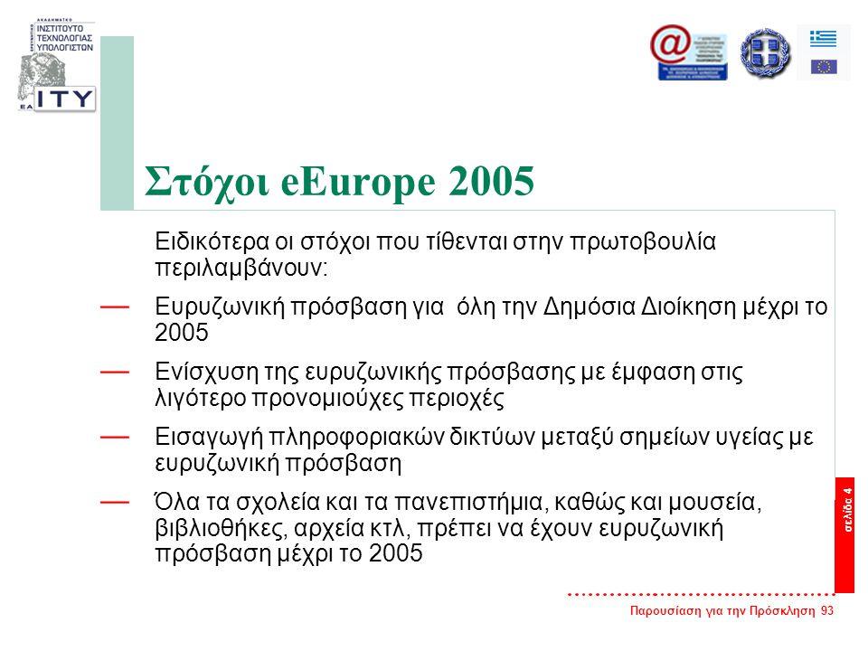 Παρουσίαση για την Πρόσκληση 93 σελίδα 4 Στόχοι eEurope 2005 Ειδικότερα οι στόχοι που τίθενται στην πρωτοβουλία περιλαμβάνουν: — Ευρυζωνική πρόσβαση για όλη την Δημόσια Διοίκηση μέχρι το 2005 — Ενίσχυση της ευρυζωνικής πρόσβασης με έμφαση στις λιγότερο προνομιούχες περιοχές — Εισαγωγή πληροφοριακών δικτύων μεταξύ σημείων υγείας με ευρυζωνική πρόσβαση — Όλα τα σχολεία και τα πανεπιστήμια, καθώς και μουσεία, βιβλιοθήκες, αρχεία κτλ, πρέπει να έχουν ευρυζωνική πρόσβαση μέχρι το 2005