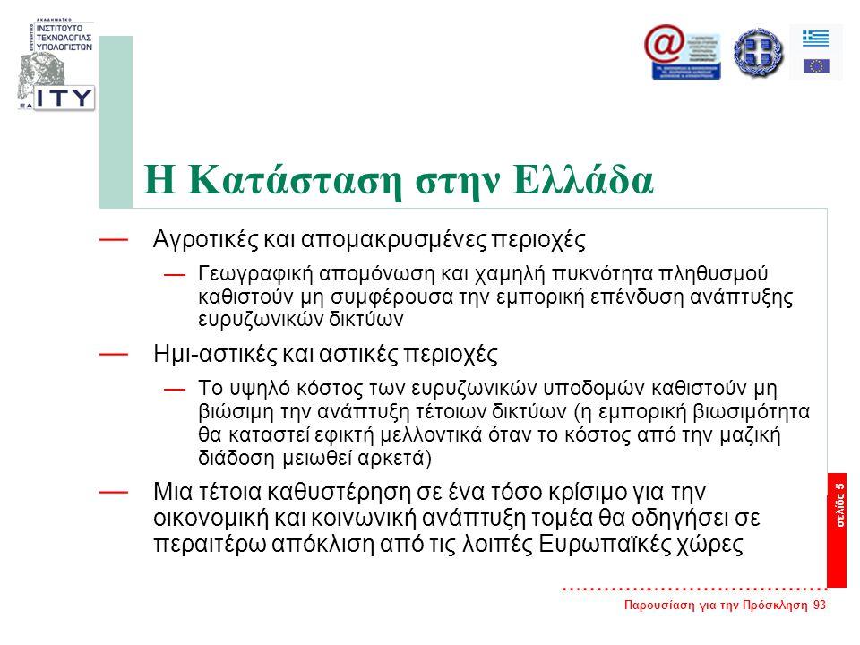 Παρουσίαση για την Πρόσκληση 93 σελίδα 5 Η Κατάσταση στην Ελλάδα — Αγροτικές και απομακρυσμένες περιοχές —Γεωγραφική απομόνωση και χαμηλή πυκνότητα πληθυσμού καθιστούν μη συμφέρουσα την εμπορική επένδυση ανάπτυξης ευρυζωνικών δικτύων — Ημι-αστικές και αστικές περιοχές —Το υψηλό κόστος των ευρυζωνικών υποδομών καθιστούν μη βιώσιμη την ανάπτυξη τέτοιων δικτύων (η εμπορική βιωσιμότητα θα καταστεί εφικτή μελλοντικά όταν το κόστος από την μαζική διάδοση μειωθεί αρκετά) — Μια τέτοια καθυστέρηση σε ένα τόσο κρίσιμο για την οικονομική και κοινωνική ανάπτυξη τομέα θα οδηγήσει σε περαιτέρω απόκλιση από τις λοιπές Ευρωπαϊκές χώρες