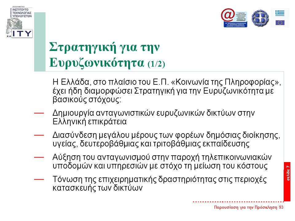 Παρουσίαση για την Πρόσκληση 93 σελίδα 7 Στρατηγική για την Ευρυζωνικότητα (1/2) Η Ελλάδα, στο πλαίσιο του Ε.Π. «Κοινωνία της Πληροφορίας», έχει ήδη δ