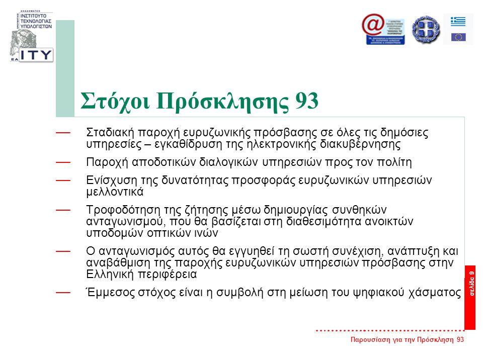 Παρουσίαση για την Πρόσκληση 93 σελίδα 9 Στόχοι Πρόσκλησης 93 — Σταδιακή παροχή ευρυζωνικής πρόσβασης σε όλες τις δημόσιες υπηρεσίες – εγκαθίδρυση της ηλεκτρονικής διακυβέρνησης — Παροχή αποδοτικών διαλογικών υπηρεσιών προς τον πολίτη — Ενίσχυση της δυνατότητας προσφοράς ευρυζωνικών υπηρεσιών μελλοντικά — Τροφοδότηση της ζήτησης μέσω δημιουργίας συνθηκών ανταγωνισμού, που θα βασίζεται στη διαθεσιμότητα ανοικτών υποδομών οπτικών ινών — Ο ανταγωνισμός αυτός θα εγγυηθεί τη σωστή συνέχιση, ανάπτυξη και αναβάθμιση της παροχής ευρυζωνικών υπηρεσιών πρόσβασης στην Ελληνική περιφέρεια — Έμμεσος στόχος είναι η συμβολή στη μείωση του ψηφιακού χάσματος