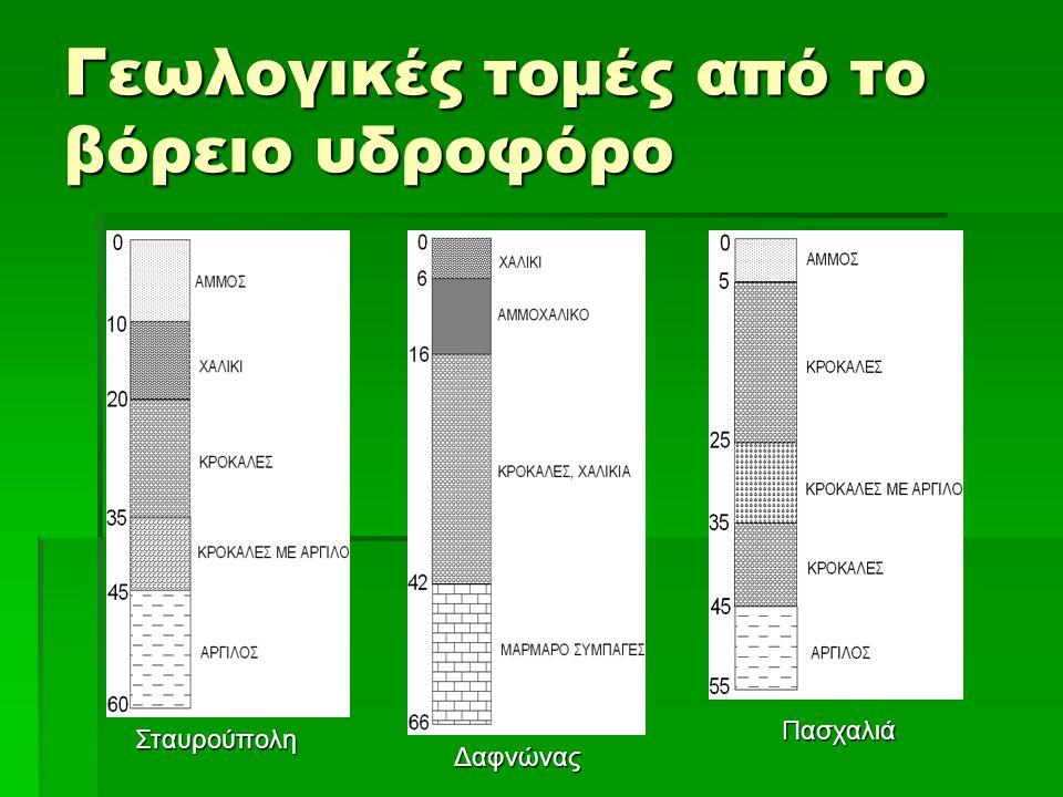 Βόρειος Υδροφόρος Εννοιολογικό μοντέλο: σχεδίαση-κατασκευή 1.46 γραμμές x 135 στήλες 2.Ένα στρώμα πάχους από 30 έως 45 m.