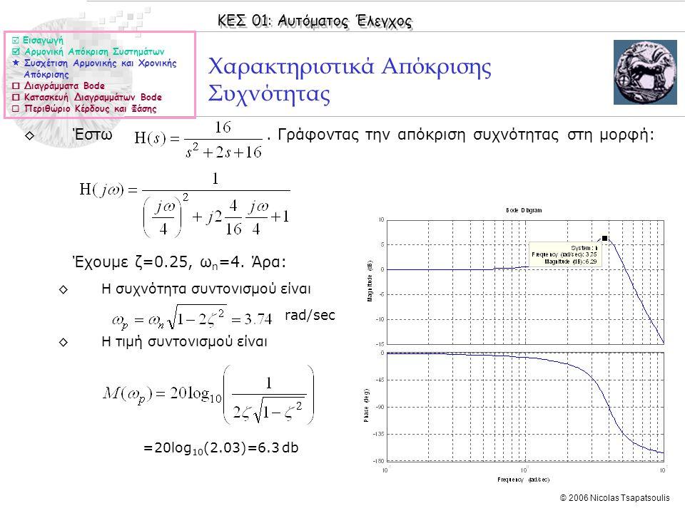 ΚΕΣ 01: Αυτόματος Έλεγχος © 2006 Nicolas Tsapatsoulis Χαρακτηριστικά Απόκρισης Συχνότητας ◊Έστω. Γράφοντας την απόκριση συχνότητας στη μορφή: Έχουμε ζ