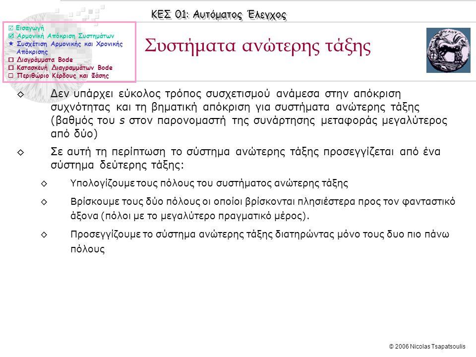 ΚΕΣ 01: Αυτόματος Έλεγχος © 2006 Nicolas Tsapatsoulis Συστήματα ανώτερης τάξης ◊Δεν υπάρχει εύκολος τρόπος συσχετισμού ανάμεσα στην απόκριση συχνότητα