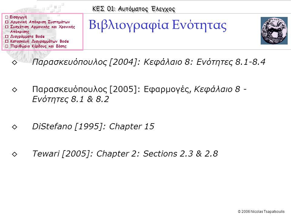ΚΕΣ 01: Αυτόματος Έλεγχος © 2006 Nicolas Tsapatsoulis  Εισαγωγή  Αρμονική Απόκριση Συστημάτων  Συσχέτιση Αρμονικής και Χρονικής Απόκρισης  Διαγράμ