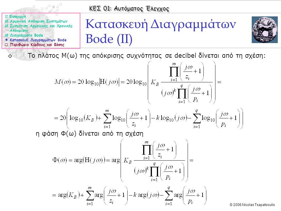 ΚΕΣ 01: Αυτόματος Έλεγχος © 2006 Nicolas Tsapatsoulis ◊Το πλάτος Μ(ω) της απόκρισης συχνότητας σε decibel δίνεται από τη σχέση: η φάση Φ(ω) δίνεται απ