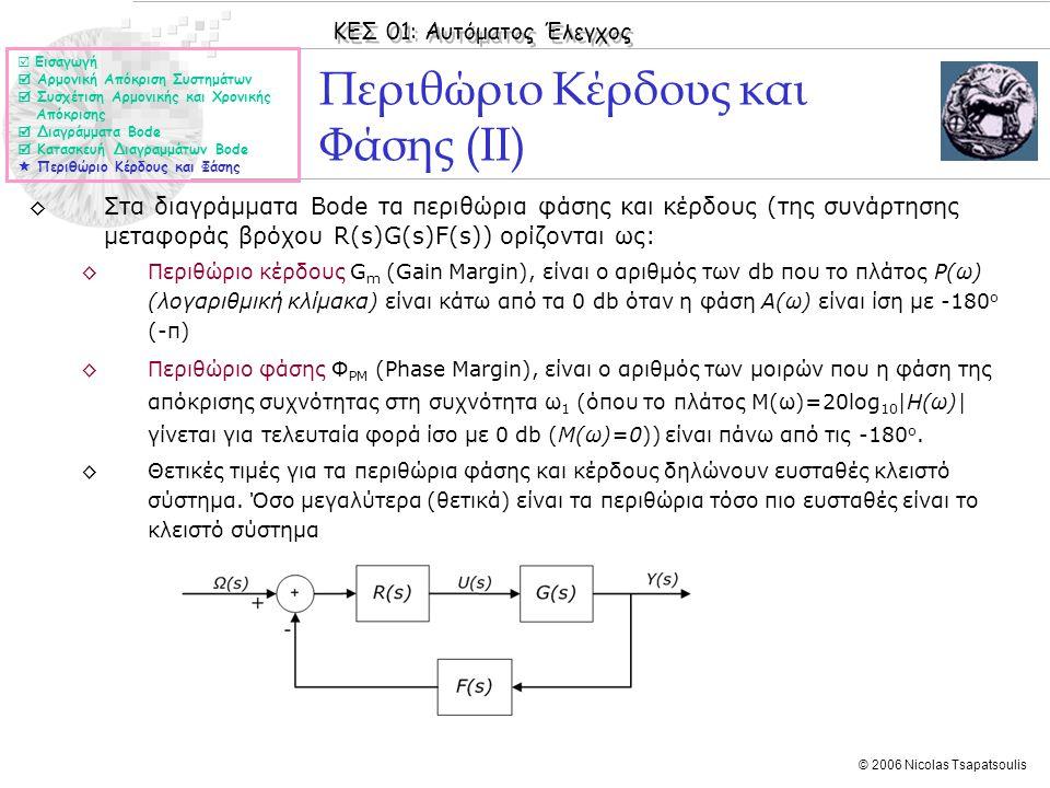 ΚΕΣ 01: Αυτόματος Έλεγχος © 2006 Nicolas Tsapatsoulis Περιθώριο Κέρδους και Φάσης (ΙΙ) ◊Στα διαγράμματα Bode τα περιθώρια φάσης και κέρδους (της συνάρ