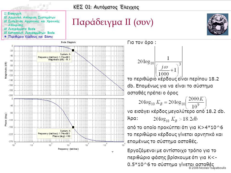 ΚΕΣ 01: Αυτόματος Έλεγχος © 2006 Nicolas Tsapatsoulis Παράδειγμα ΙI (συν)  Εισαγωγή  Αρμονική Απόκριση Συστημάτων  Συσχέτιση Αρμονικής και Χρονικής
