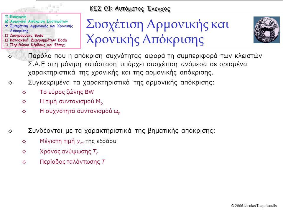 ΚΕΣ 01: Αυτόματος Έλεγχος © 2006 Nicolas Tsapatsoulis Συσχέτιση Αρμονικής και Χρονικής Απόκρισης ◊Παρόλο που η απόκριση συχνότητας αφορά τη συμπεριφορ