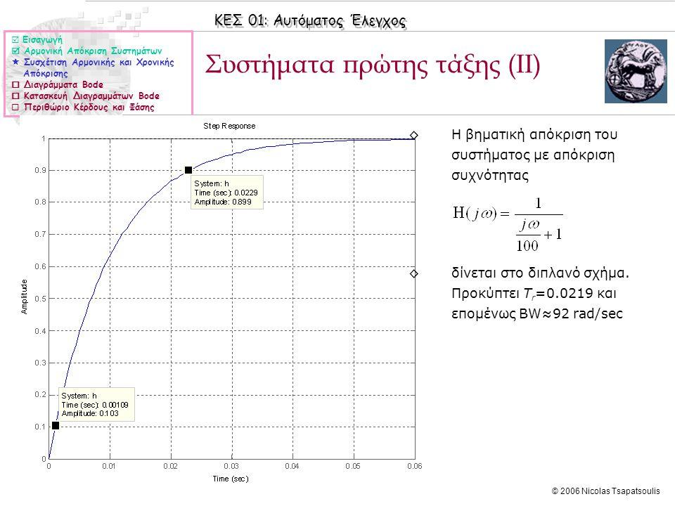 ΚΕΣ 01: Αυτόματος Έλεγχος © 2006 Nicolas Tsapatsoulis Συστήματα πρώτης τάξης (ΙΙ)  Εισαγωγή  Αρμονική Απόκριση Συστημάτων  Συσχέτιση Αρμονικής και