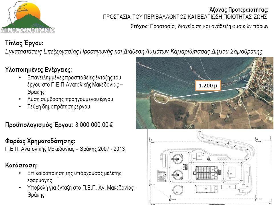 Τίτλος Έργου: Κατασκευή λιμνοδεξαμενής Ξηροποτάμου Δήμου Σαμοθράκης Κατάσταση: • Υπογράφηκε Σύμβαση Κατασκευής την 21/5/2013 • Καθυστέρηση με την ολοκλήρωση των απαλλοτριώσεων • Ενέργειες και μελέτες για καθαρισμό και λήψη αδρανών υλικών Προϋπολογισμός Έργου: 3.950.000,00 € (εκτελείται από Περιφέρεια ΑΜΘ ) Υλοποιημένες Ενέργειες: • Μελέτη επικαιροποίηση τιμών μελέτης κατασκευής του έργου • Υδραυλική μελέτη μεταφοράς νερού • Τοπογραφική αποτύπωση λιμνοδεξαμενής και δικτύου μεταφοράς νερού • Ανανέωση των Περιβαλλοντικών Όρων λαμβανομένης υπόψη της περιοχής Natura 2000 (εκτέλεση από Τεχνικές Υπηρεσίες ΠΑΜΘ) Άξονας Προτεραιότητας: ΠΡΟΣΤΑΣΙΑ ΤΟΥ ΠΕΡΙΒΑΛΛΟΝΤΟΣ ΚΑΙ ΒΕΛΤΙΩΣΗ ΠΟΙΟΤΗΤΑΣ ΖΩΗΣ Στόχος : Προστασία, διαχείριση και ανάδειξη φυσικών πόρων Προϋπολογισμός Μελετών που υλοποίησε ο Δήμος Σαμοθράκης: 45.000,00 € Φορέας Χρηματοδότησης: Π.Α.Α.