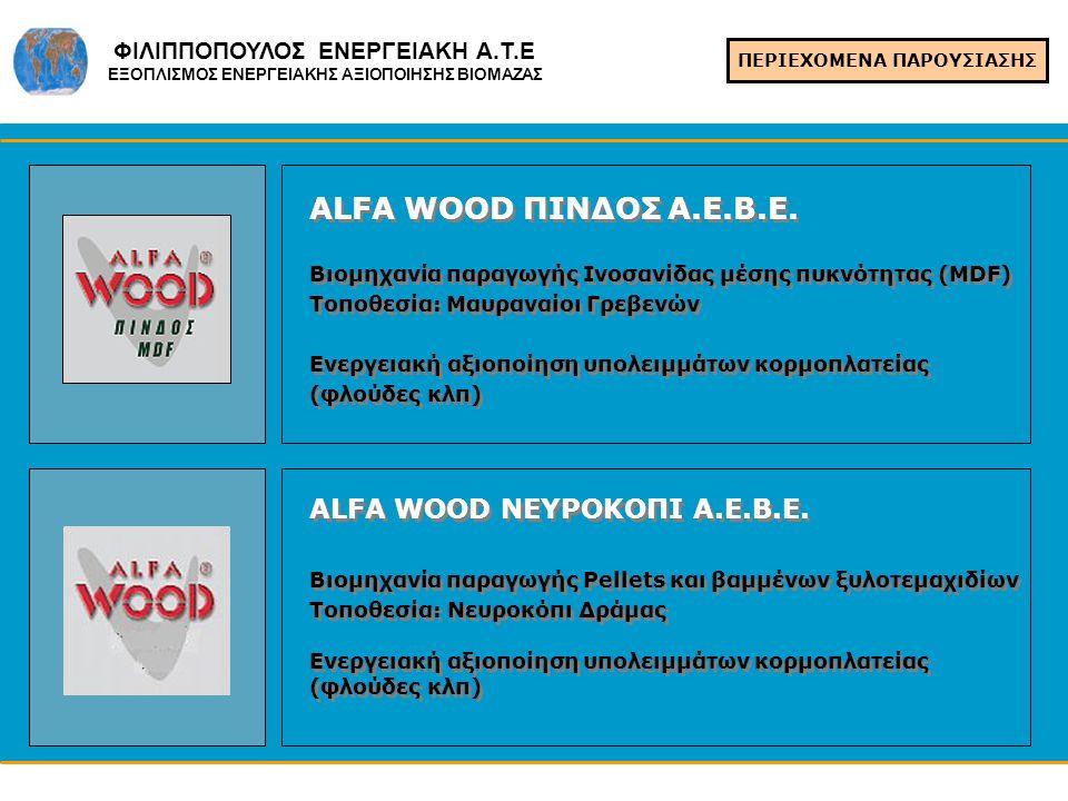 ΠΕΡΙΕΧΟΜΕΝΑ ΠΑΡΟΥΣΙΑΣΗΣ ALFA WOOD ΠΙΝΔΟΣ Α.Ε.Β.Ε. Βιομηχανία παραγωγής Ινοσανίδας μέσης πυκνότητας (MDF) Τοποθεσία: Μαυραναίοι Γρεβενών Ενεργειακή αξι
