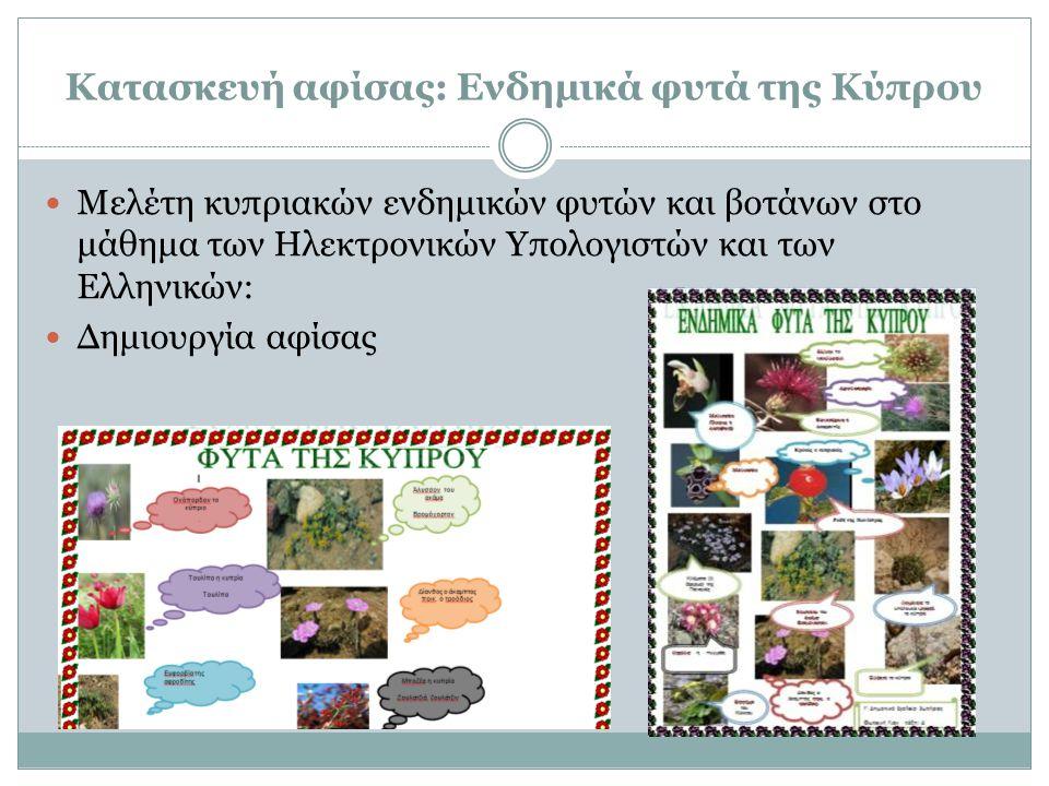  Μελέτη κυπριακών ενδημικών φυτών και βοτάνων στο μάθημα των Ηλεκτρονικών Υπολογιστών και των Ελληνικών:  Δημιουργία αφίσας Κατασκευή αφίσας: Ενδημι