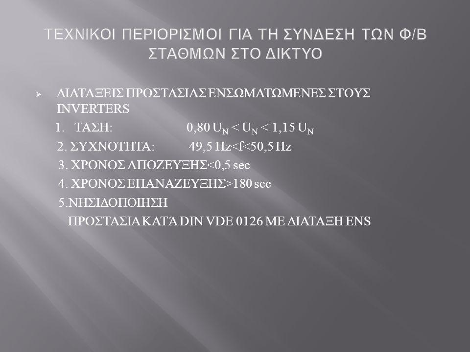  ΔΙΑΤΑΞΕΙΣ ΠΡΟΣΤΑΣΙΑΣ ΕΝΣΩΜΑΤΩΜΕΝΕΣ ΣΤΟΥΣ INVERTERS 1. ΤΑΣΗ : 0,80 U N < U N < 1,15 U N 2. ΣΥΧΝΟΤΗΤΑ : 49,5 Hz<f<50,5 Hz 3. ΧΡΟΝΟΣ ΑΠΟΖΕΥΞΗΣ <0,5 sec
