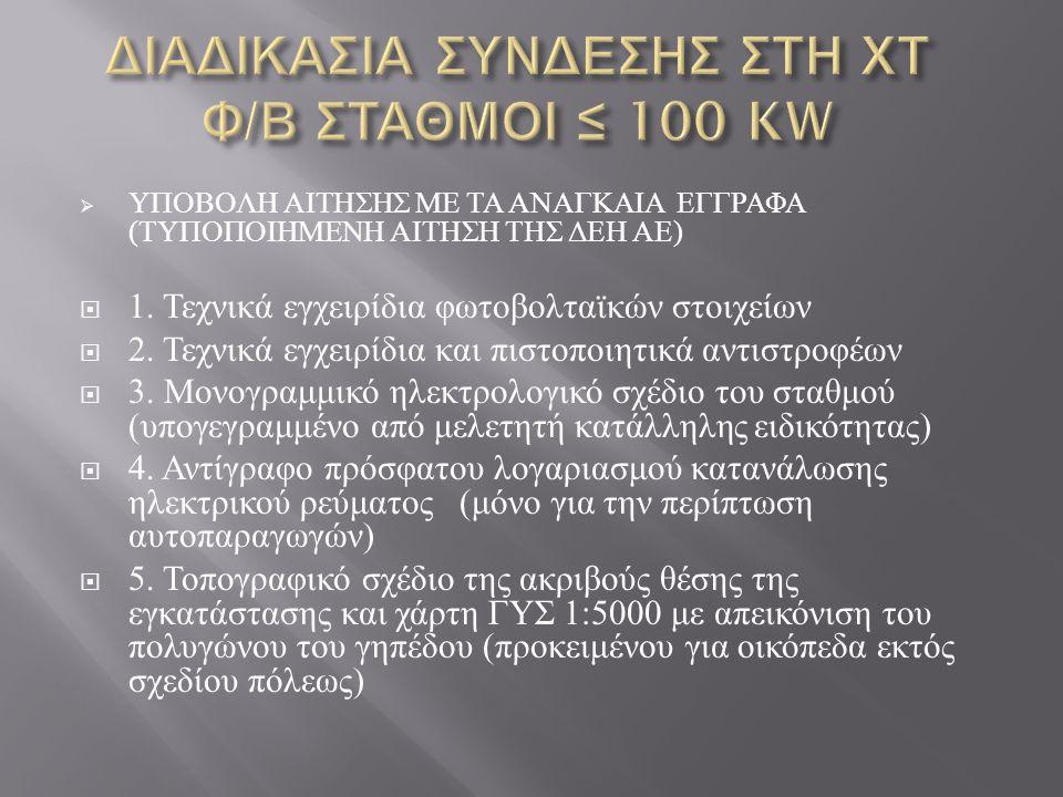  ΥΠΟΒΟΛΗ ΑΙΤΗΣΗΣ ΜΕ ΤΑ ΑΝΑΓΚΑΙΑ ΕΓΓΡΑΦΑ ( ΤΥΠΟΠΟΙΗΜΕΝΗ ΑΙΤΗΣΗ ΤΗΣ ΔΕΗ ΑΕ )  1. Τεχνικά εγχειρίδια φωτοβολταϊκών στοιχείων  2. Τεχνικά εγχειρίδια κα