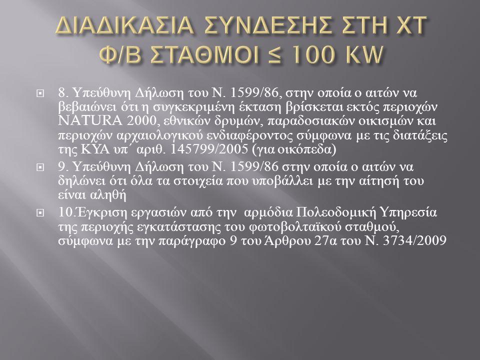  8. Υπεύθυνη Δήλωση του Ν. 1599/86, στην οποία ο αιτών να βεβαιώνει ότι η συγκεκριμένη έκταση βρίσκεται εκτός περιοχών NATURA 2000, εθνικών δρυμών, π