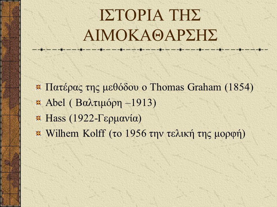 ΙΣΤΟΡΙΑ ΤΗΣ ΑΙΜΟΚΑΘΑΡΣΗΣ Πατέρας της μεθόδου ο Thomas Graham (1854) Abel ( Βαλτιμόρη –1913) Hass (1922-Γερμανία) Wilhem Kolff (το 1956 την τελική της