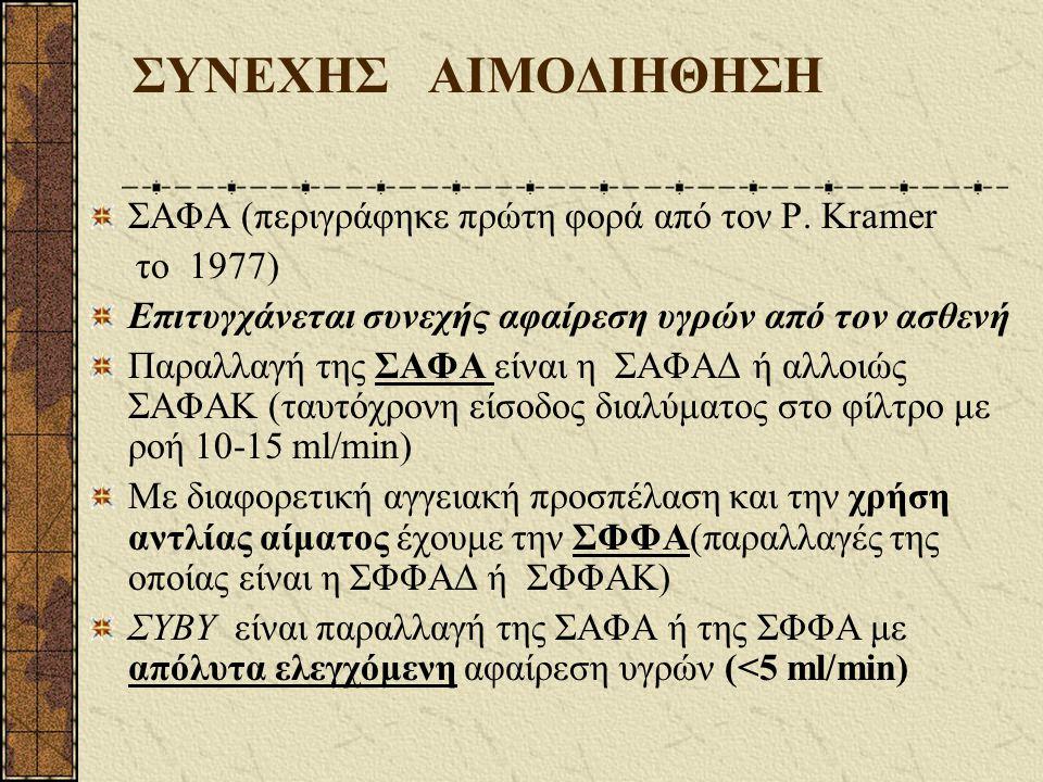 ΣΥΝΕΧΗΣ ΑΙΜΟΔΙΗΘΗΣΗ ΣΑΦΑ (περιγράφηκε πρώτη φορά από τον P. Kramer το 1977) Επιτυγχάνεται συνεχής αφαίρεση υγρών από τον ασθενή Παραλλαγή της ΣΑΦΑ είν