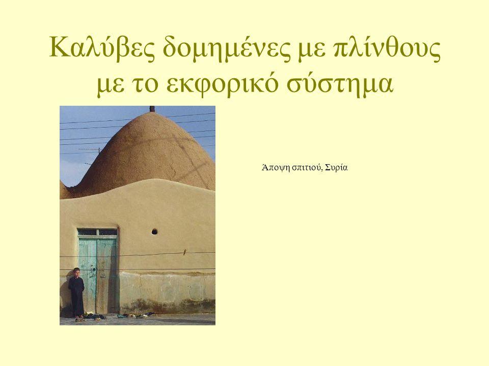 Καλύβες δομημένες με πλίνθους με το εκφορικό σύστημα Άποψη σπιτιού, Συρία