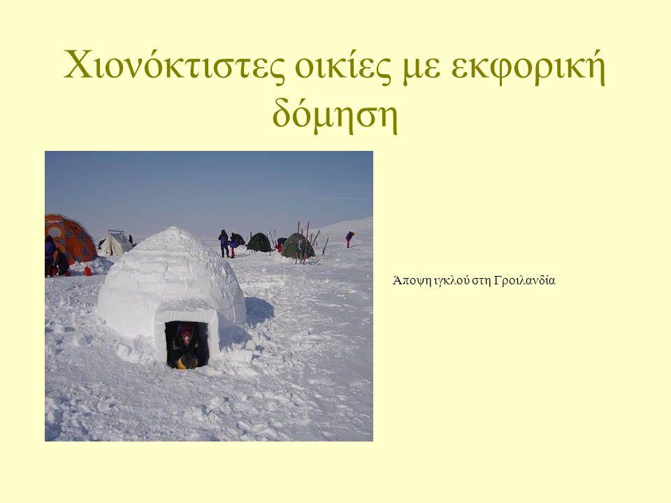 Χιονόκτιστες οικίες με εκφορική δόμηση Άποψη ιγκλού στη Γροιλανδία