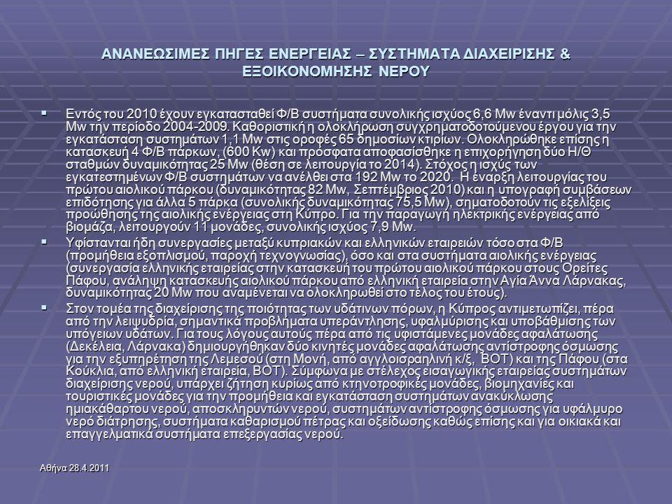 Αθήνα 28.4.2011 ΑΝΑΝΕΩΣΙΜΕΣ ΠΗΓΕΣ ΕΝΕΡΓΕΙΑΣ – ΣΥΣΤΗΜΑΤΑ ΔΙΑΧΕΙΡΙΣΗΣ & ΕΞΟΙΚΟΝΟΜΗΣΗΣ ΝΕΡΟΥ  Εντός του 2010 έχουν εγκατασταθεί Φ/Β συστήματα συνολικής ισχύος 6,6 Μw έναντι μόλις 3,5 Μw την περίοδο 2004-2009.