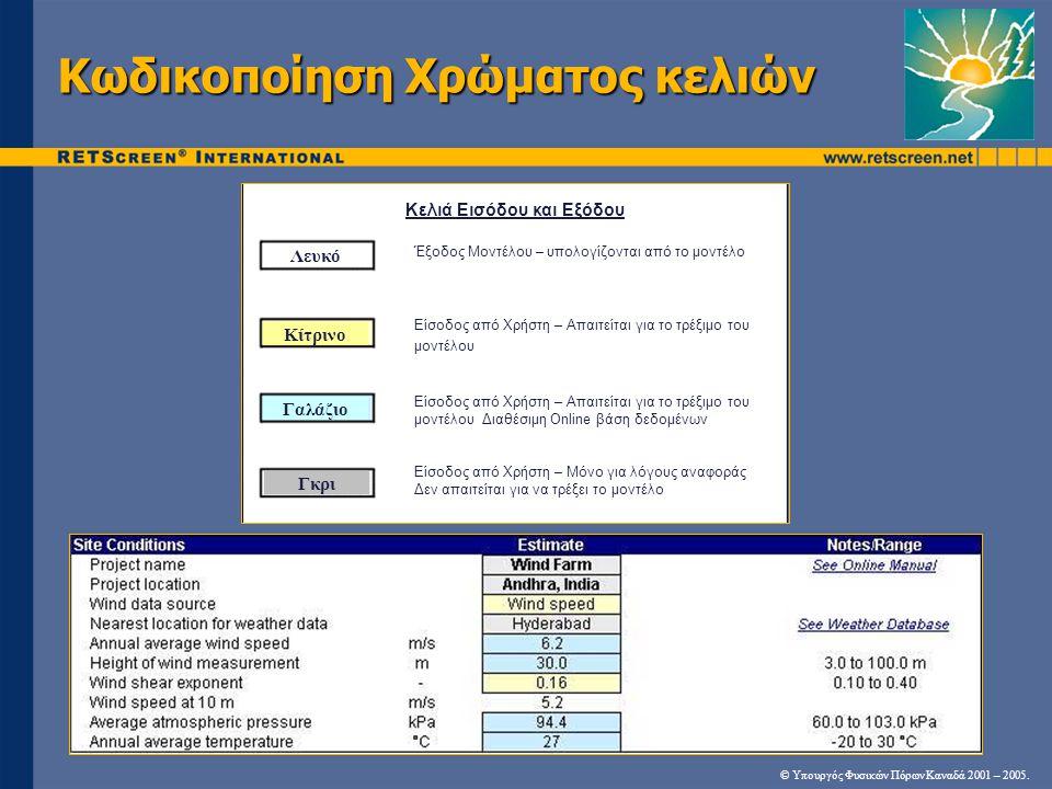 Κωδικοποίηση Χρώματος κελιών © Υπουργός Φυσικών Πόρων Καναδά 2001 – 2005. white yellow blue grey Κελιά Εισόδου και Εξόδου Λευκό Κίτρινο Γαλάζιο Γκρι Έ