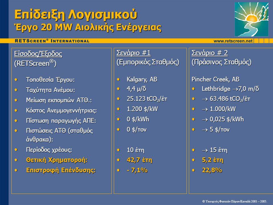 Επίδειξη Λογισμικού Έργο 20 MW Αιολικής Ενέργειας Είσοδος/Έξοδος (RETScreen ® ) • Τοποθεσία Έργου: • Ταχύτητα Ανέμου: • Μείωση εκπομπών ΑΤΘ.: • Κόστος