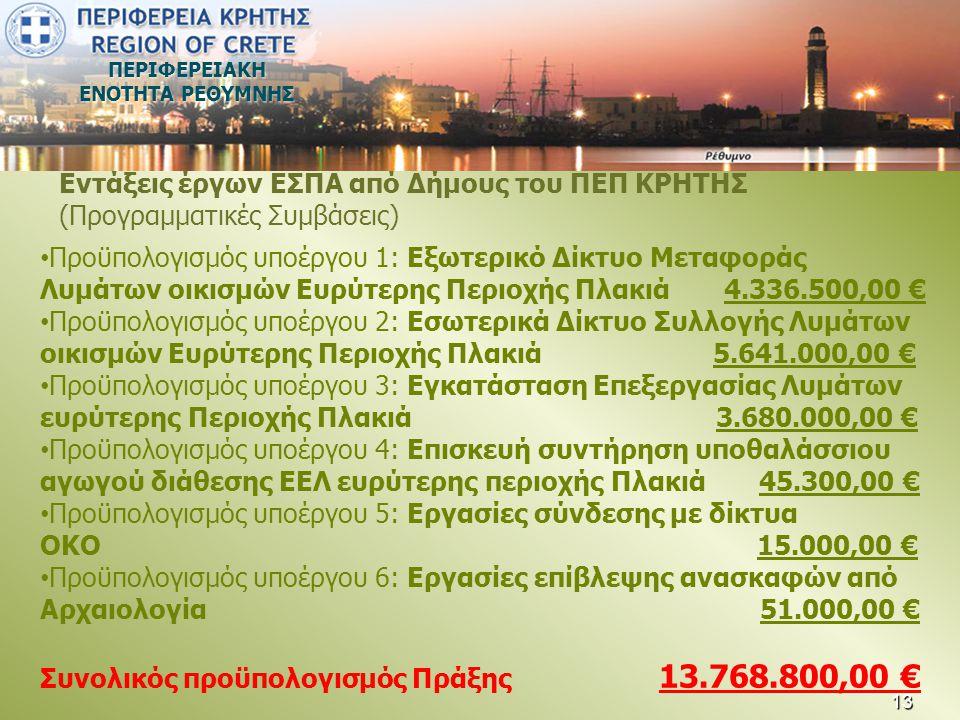 ΠΕΡΙΦΕΡΕΙΑΚΗ ΕΝΟΤΗΤΑ ΡΕΘΥΜΝΗΣ • Προϋπολογισμός υποέργου 1: Εξωτερικό Δίκτυο Μεταφοράς Λυμάτων οικισμών Ευρύτερης Περιοχής Πλακιά 4.336.500,00 € • Προϋ