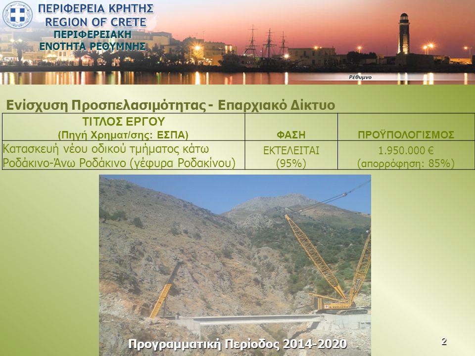 ΠΕΡΙΦΕΡΕΙΑΚΗ ΕΝΟΤΗΤΑ ΡΕΘΥΜΝΗΣ • Προϋπολογισμός υποέργου 1: Εξωτερικό Δίκτυο Μεταφοράς Λυμάτων οικισμών Ευρύτερης Περιοχής Πλακιά 4.336.500,00 € • Προϋπολογισμός υποέργου 2: Εσωτερικά Δίκτυο Συλλογής Λυμάτων οικισμών Ευρύτερης Περιοχής Πλακιά 5.641.000,00 € • Προϋπολογισμός υποέργου 3: Εγκατάσταση Επεξεργασίας Λυμάτων ευρύτερης Περιοχής Πλακιά 3.680.000,00 € • Προϋπολογισμός υποέργου 4: Επισκευή συντήρηση υποθαλάσσιου αγωγού διάθεσης ΕΕΛ ευρύτερης περιοχής Πλακιά 45.300,00 € • Προϋπολογισμός υποέργου 5: Εργασίες σύνδεσης με δίκτυα ΟΚO 15.000,00 € • Προϋπολογισμός υποέργου 6: Εργασίες επίβλεψης ανασκαφών από Αρχαιολογία 51.000,00 € Συνολικός προϋπολογισμός Πράξης 13.768.800,00 € Εντάξεις έργων ΕΣΠΑ από Δήμους του ΠΕΠ ΚΡΗΤΗΣ (Προγραμματικές Συμβάσεις) 13 13