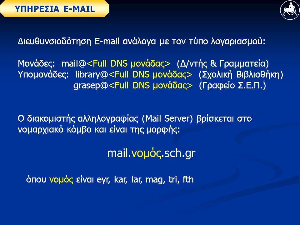 ΥΠΗΡΕΣΙΑ E-MAIL Διευθυνσιοδότηση Ε-mail ανάλογα με τον τύπο λογαριασμού: Μονάδες: mail@ (Δ/ντής & Γραμματεία) Υπομονάδες: library@ (Σχολική Βιβλιοθήκη) grasep@ (Γραφείο Σ.Ε.Π.) Ο διακομιστής αλληλογραφίας (Mail Server) βρίσκεται στο νομαρχιακό κόμβο και είναι της μορφής: mail.νομός.sch.gr όπου νομός είναι eyr, kar, lar, mag, tri, fth
