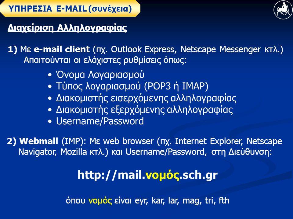 Διαχείριση Αλληλογραφίας 1) Με e-mail client (πχ.