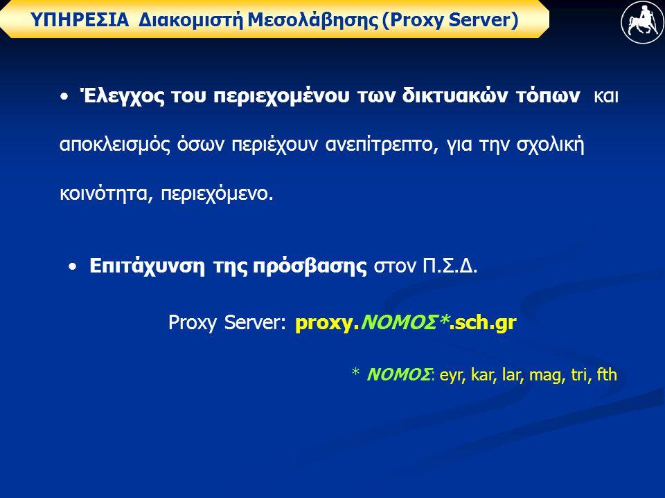 ΥΠΗΡΕΣΙΑ Διακομιστή Μεσολάβησης (Proxy Server) • Έλεγχος του περιεχομένου των δικτυακών τόπων και αποκλεισμός όσων περιέχουν ανεπίτρεπτο, για την σχολική κοινότητα, περιεχόμενο.