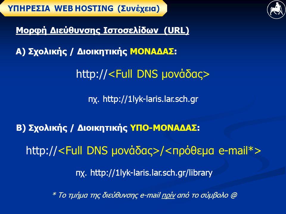 Μορφή Διεύθυνσης Ιστοσελίδων (URL) Α) Σχολικής / Διοικητικής ΜΟΝΑΔΑΣ: http:// πχ.