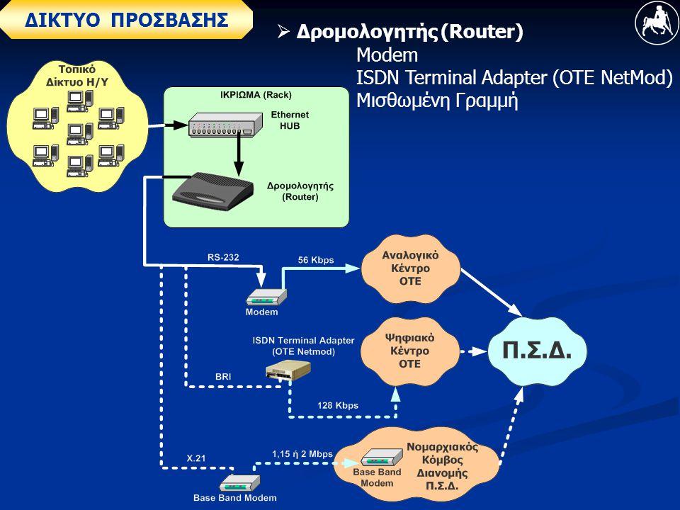 ΔΙΚΤΥΟ ΠΡΟΣΒΑΣΗΣ  Δρομολογητής (Router) Modem ISDN Terminal Adapter (OTE NetMod) Μισθωμένη Γραμμή