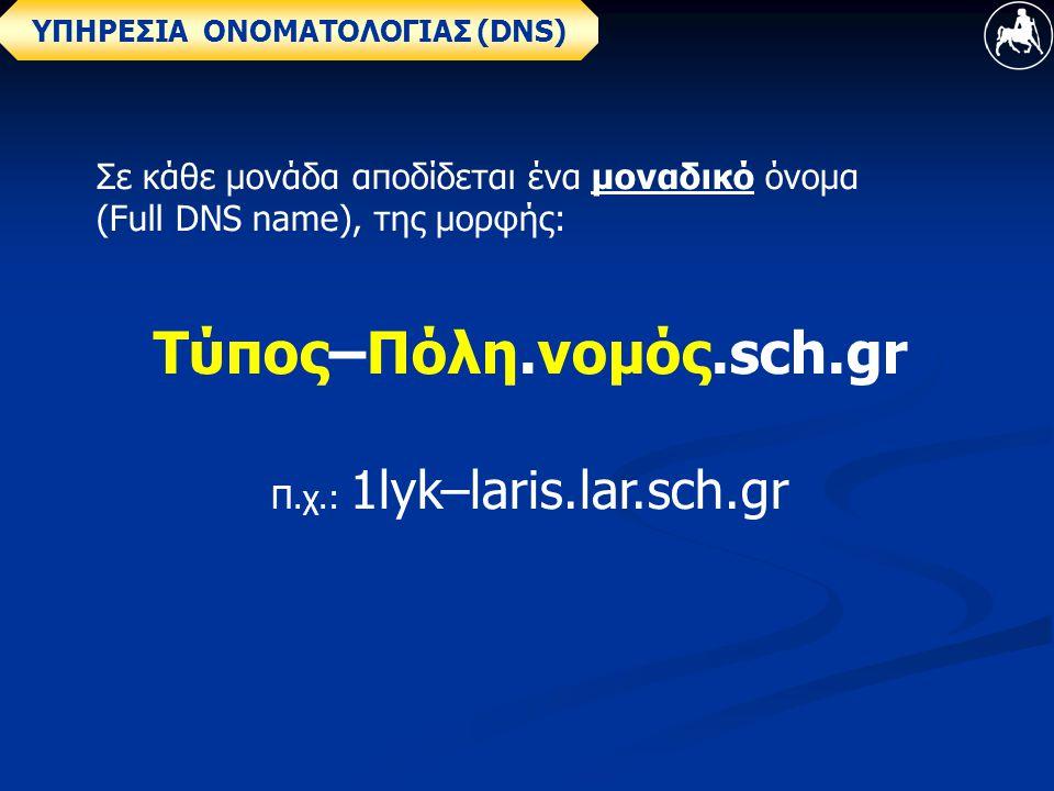 ΥΠΗΡΕΣΙΑ ΟΝΟΜΑΤΟΛΟΓΙΑΣ (DNS) Σε κάθε μονάδα αποδίδεται ένα μοναδικό όνομα (Full DNS name), της μορφής: Τύπος–Πόλη.νομός.sch.gr Π.χ.: 1lyk–laris.lar.sch.gr