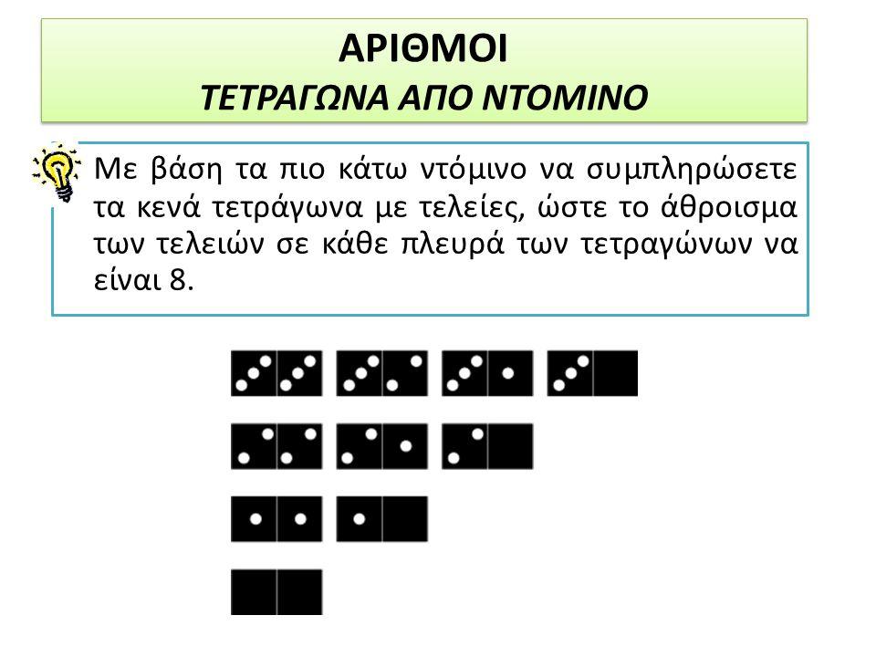 ΑΡΙΘΜΟΙ ΤΕΤΡΑΓΩΝΑ ΑΠΟ ΝΤΟΜΙΝΟ Με βάση τα πιο κάτω ντόμινο να συμπληρώσετε τα κενά τετράγωνα με τελείες, ώστε το άθροισμα των τελειών σε κάθε πλευρά τω