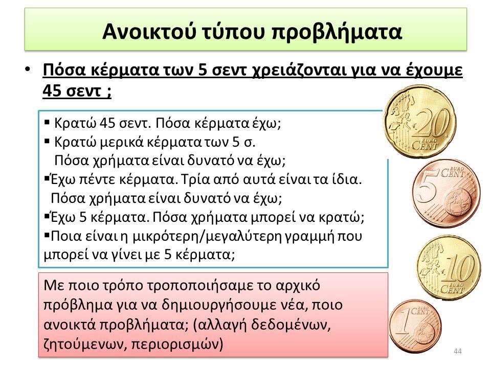 Ανοικτού τύπου προβλήματα • Πόσα κέρματα των 5 σεντ χρειάζονται για να έχουμε 45 σεντ ; 44 Με ποιο τρόπο τροποποιήσαμε το αρχικό πρόβλημα για να δημιο