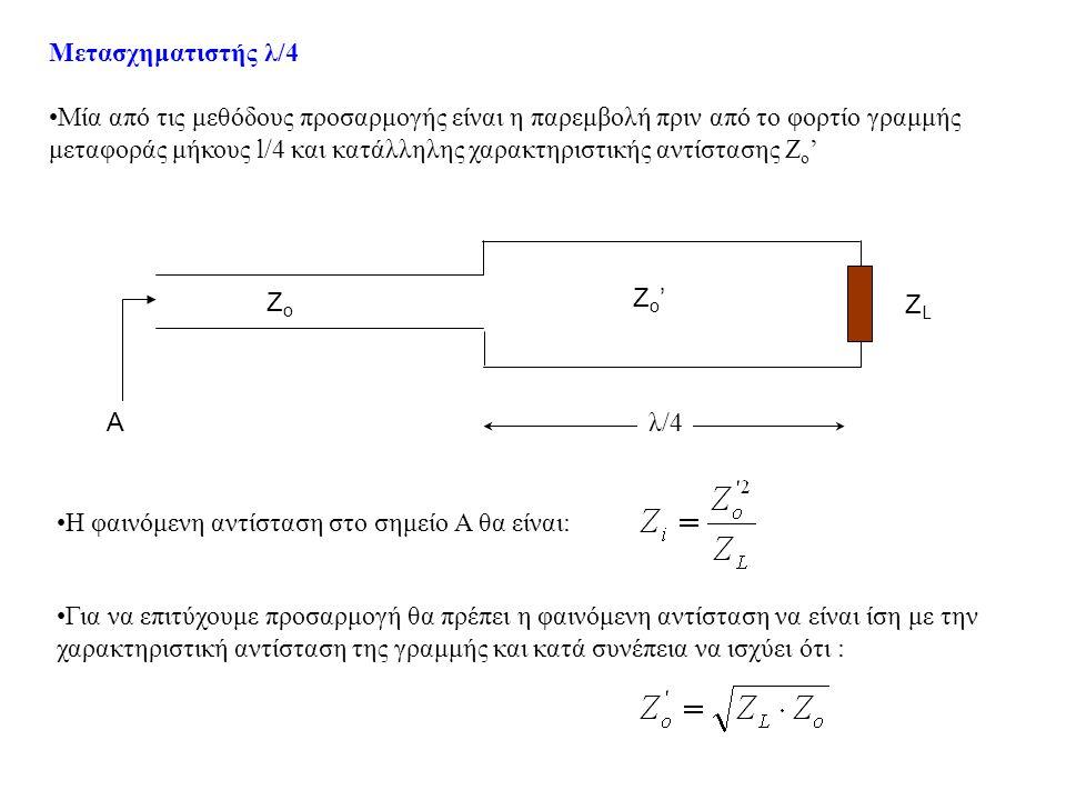 Μετασχηματιστής λ/4 •Μία από τις μεθόδους προσαρμογής είναι η παρεμβολή πριν από το φορτίο γραμμής μεταφοράς μήκους l/4 και κατάλληλης χαρακτηριστικής