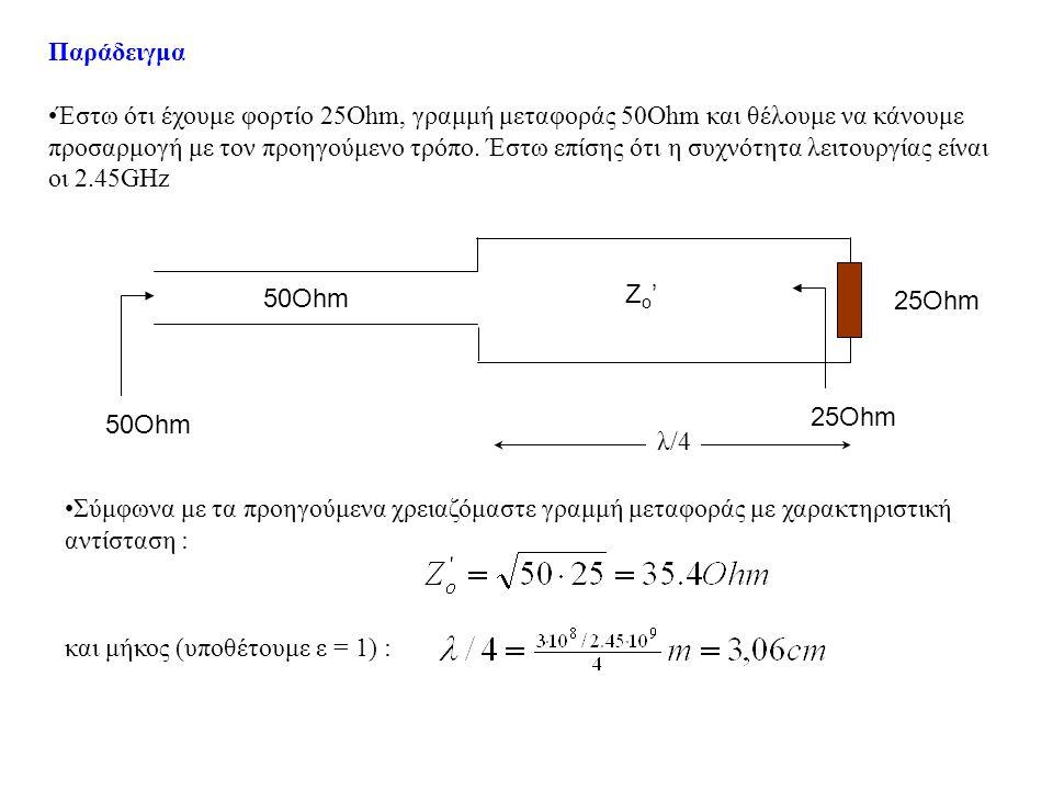 Κατασκευή γραμμής μεταφοράς λ/4, 35.4Ohm Για τη γραμμή μεταφοράς θα χρησιμοποιήσουμε έναν ομοαξονικό αγωγό.