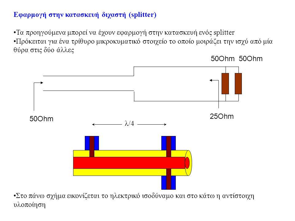 Παράμετροι λειτουργίας •Έστω συνδέουμε μικροκυματική πηγή στην είσοδο Α και τερματίζουμε με φορτία 50Ohm (δύο κεραίες) τις εξόδους B και C •Επειδή η γραμμή είναι προσαρμοσμένη όλη η ενέργειαπό την πηγή θα οδηγηθεί στα φορτία.