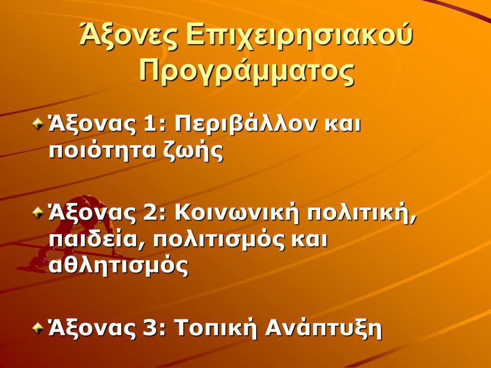 Άξονες Επιχειρησιακού Προγράμματος Άξονας 1: Περιβάλλον και ποιότητα ζωής Άξονας 2: Κοινωνική πολιτική, παιδεία, πολιτισμός και αθλητισμός Άξονας 3: Τ