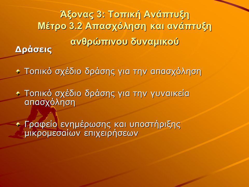 Άξονας 3: Τοπική Ανάπτυξη Μέτρο 3.2 Απασχόληση και ανάπτυξη ανθρώπινου δυναμικού Δράσεις Τοπικό σχέδιο δράσης για την απασχόληση Τοπικό σχέδιο δράσης