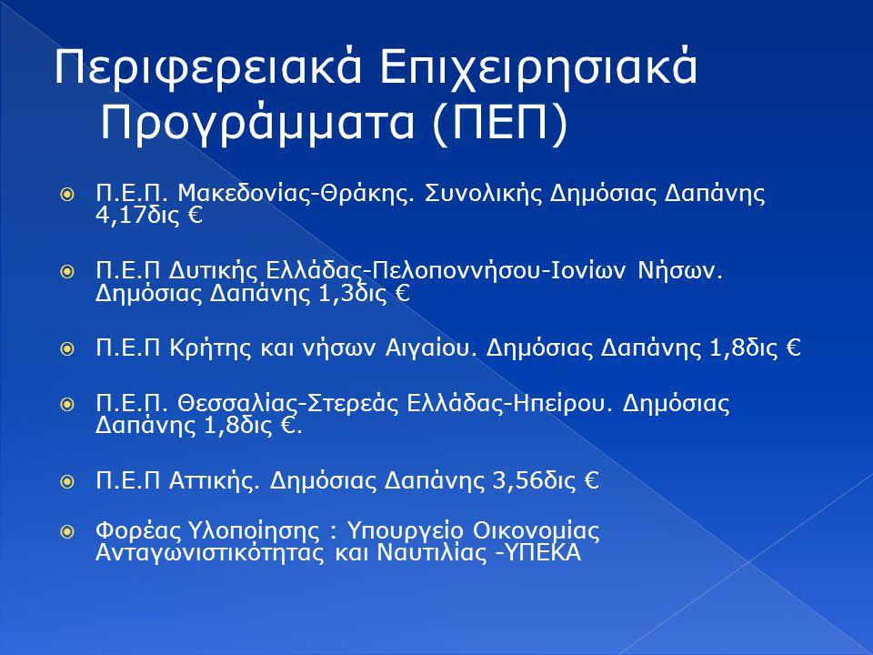  Π.Ε.Π. Μακεδονίας-Θράκης. Συνολικής Δημόσιας Δαπάνης 4,17δις €  Π.Ε.Π Δυτικής Ελλάδας-Πελοποννήσου-Ιονίων Νήσων. Δημόσιας Δαπάνης 1,3δις €  Π.Ε.Π