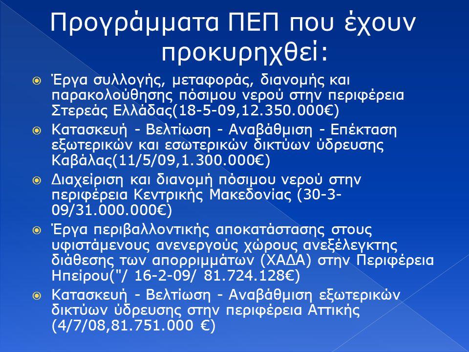  Έργα συλλογής, μεταφοράς, διανομής και παρακολούθησης πόσιμου νερού στην περιφέρεια Στερεάς Ελλάδας(18-5-09,12.350.000€)  Κατασκευή - Βελτίωση - Αναβάθμιση - Επέκταση εξωτερικών και εσωτερικών δικτύων ύδρευσης Καβάλας(11/5/09,1.300.000€)  Διαχείριση και διανομή πόσιμου νερού στην περιφέρεια Κεντρικής Μακεδονίας (30-3- 09/31.000.000€)  Έργα περιβαλλοντικής αποκατάστασης στους υφιστάμενους ανενεργούς χώρους ανεξέλεγκτης διάθεσης των απορριμμάτων (ΧΑΔΑ) στην Περιφέρεια Ηπείρου( / 16-2-09/ 81.724.128€)  Κατασκευή - Βελτίωση - Αναβάθμιση εξωτερικών δικτύων ύδρευσης στην περιφέρεια Αττικής (4/7/08,81.751.000 €)