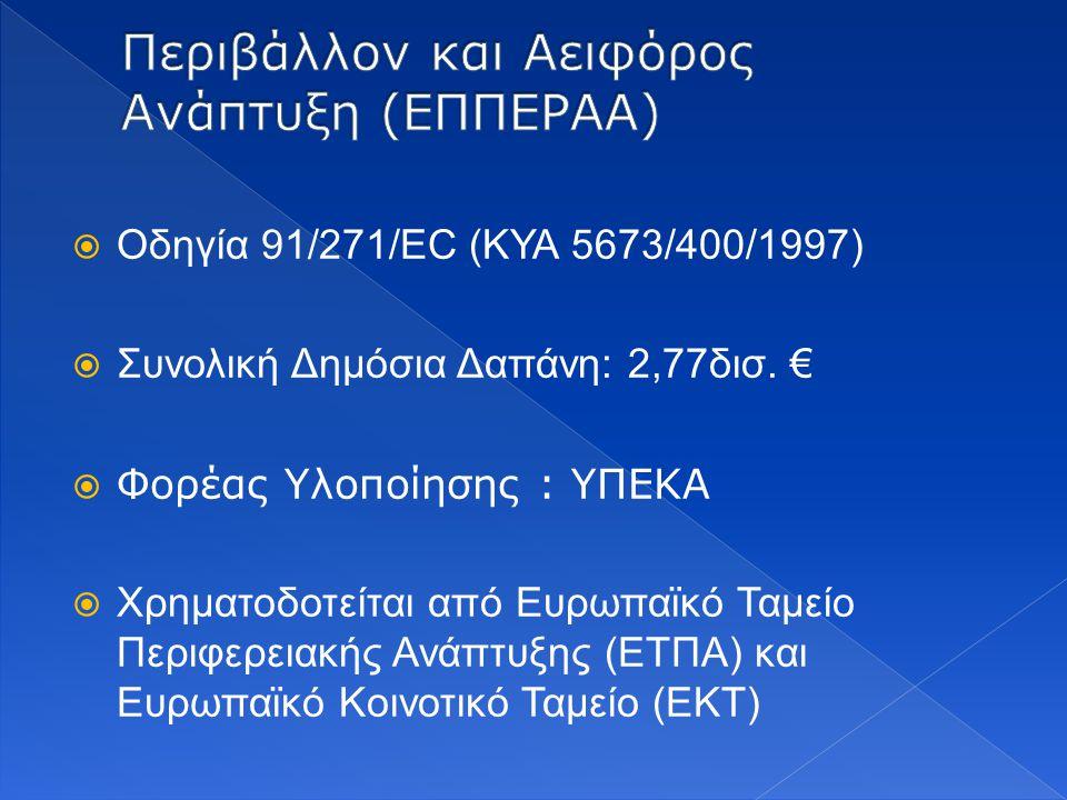  Οδηγία 91/271/EC (ΚΥΑ 5673/400/1997)  Συνολική Δημόσια Δαπάνη: 2,77δισ. €  Φορέας Υλοποίησης : ΥΠΕΚΑ  Χρηματοδοτείται από Ευρωπαϊκό Ταμείο Περιφε