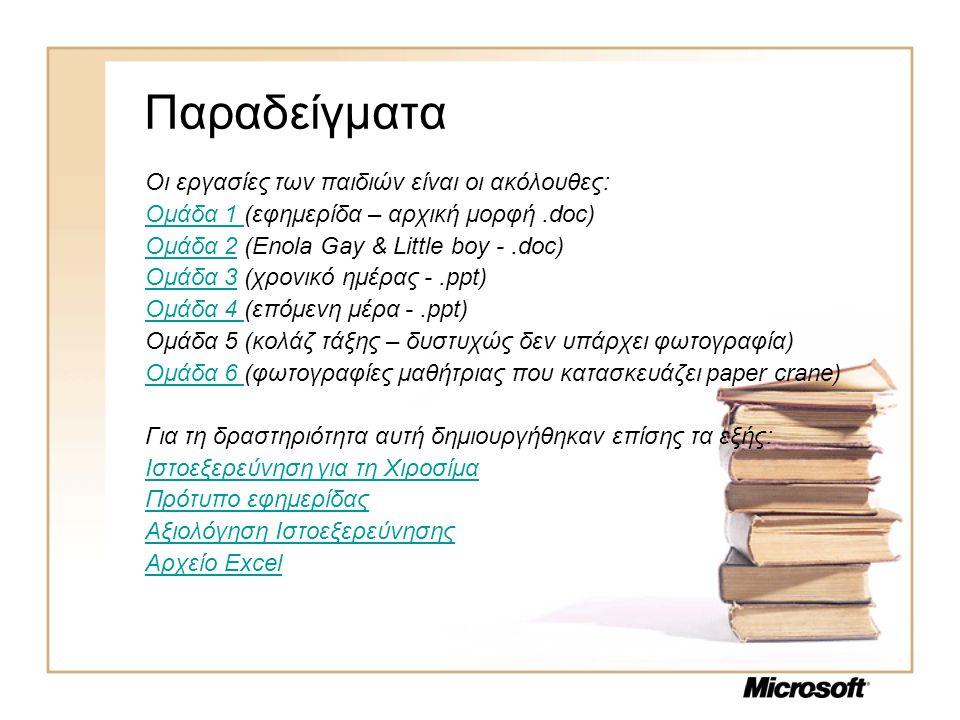 Παραδείγματα Οι εργασίες των παιδιών είναι οι ακόλουθες: Ομάδα 1 Ομάδα 1 (εφημερίδα – αρχική μορφή.doc) Ομάδα 2Ομάδα 2 (Enola Gay & Little boy -.doc)