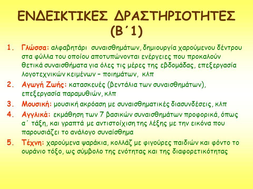 ΕΝΔΕΙΚΤΙΚΕΣ ΔΡΑΣΤΗΡΙΟΤΗΤΕΣ (Β΄1) 1.Γλώσσα: αλφαβητάρι συναισθημάτων, δημιουργία χαρούμενου δέντρου στα φύλλα του οποίου αποτυπώνονται ενέργειες που πρ