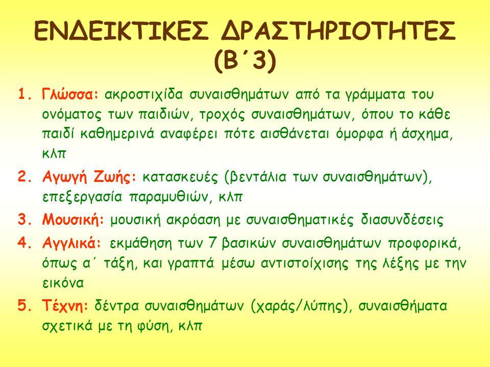 ΕΝΔΕΙΚΤΙΚΕΣ ΔΡΑΣΤΗΡΙΟΤΗΤΕΣ (Β΄3) 1.Γλώσσα: ακροστιχίδα συναισθημάτων από τα γράμματα του ονόματος των παιδιών, τροχός συναισθημάτων, όπου το κάθε παιδ