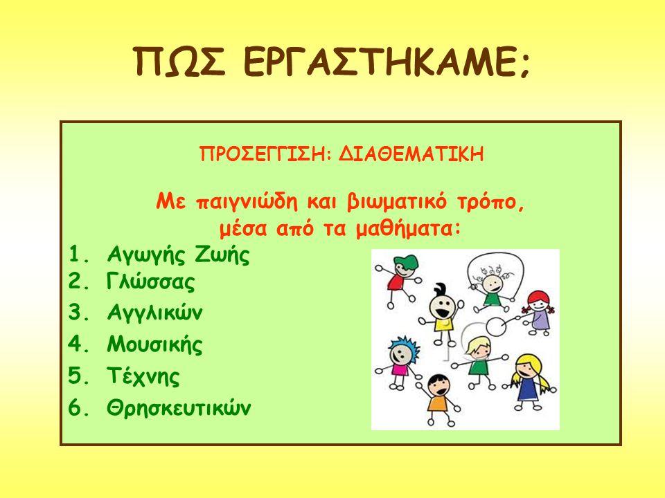ΠΩΣ ΕΡΓΑΣΤΗΚΑΜΕ; ΠΡΟΣΕΓΓΙΣΗ: ΔΙΑΘΕΜΑΤΙΚΗ Με παιγνιώδη και βιωματικό τρόπο, μέσα από τα μαθήματα: 1.Αγωγής Ζωής 2.Γλώσσας 3.Αγγλικών 4.Μουσικής 5.Τέχνη