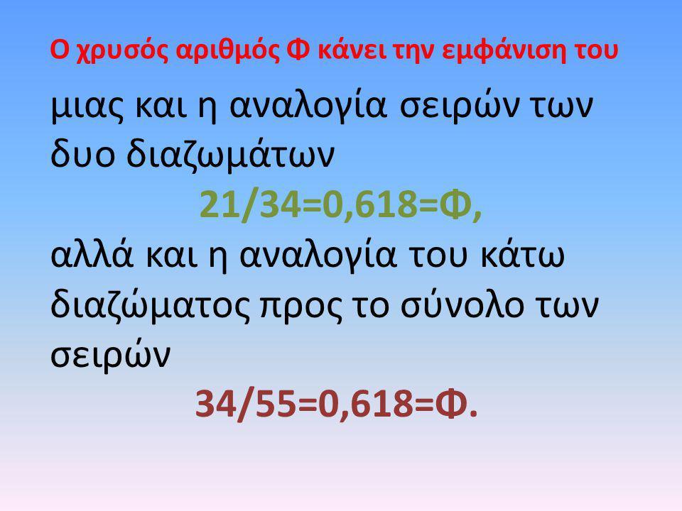 μιας και η αναλογία σειρών των δυο διαζωμάτων 21/34=0,618=Φ, αλλά και η αναλογία του κάτω διαζώματος προς το σύνολο των σειρών 34/55=0,618=Φ. Ο χρυσός