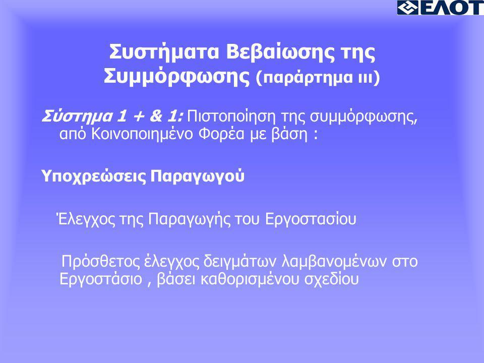 Συστήματα Βεβαίωσης της Συμμόρφωσης (παράρτημα ιιι) Σύστημα 1 + & 1: Πιστοποίηση της συμμόρφωσης, από Κοινοποιημένο Φορέα με βάση : Υποχρεώσεις Παραγωγού Έλεγχος της Παραγωγής του Εργοστασίου Πρόσθετος έλεγχος δειγμάτων λαμβανομένων στο Εργοστάσιο, βάσει καθορισμένου σχεδίου